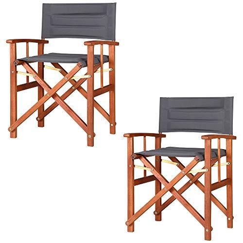 Casaria 2X Gartenstuhl Cannes FSC®-zertifiziertes Eukalyptusholz gepolstert faltbar Klappstuhl Holz Stuhl Regiestuhl Anthrazit.