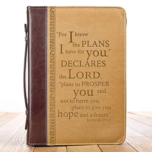 Christian Art Gifts Tan Faux Leather Bible Cover for Men and Women  I Know The Plans - Jeremiah 2911  Zippered Case for Bible or Book wHandle Large