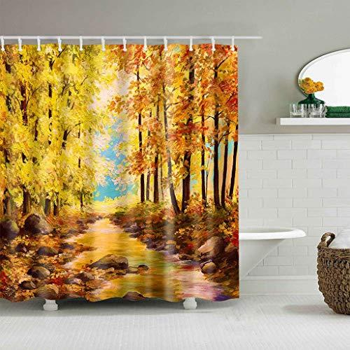 KJGTR DuschvorhangHerbst Duschvorhang Herbst Ahorn Blätter Blätter auf rustikalen Holz Stoff Stoff Badezimmer Dekor wasserdicht Duschvorhang mit Haken