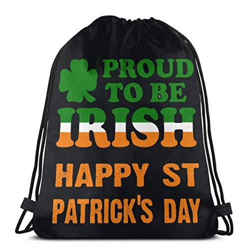 BXBX Happy St Patricks Day Stolz darauf, irische Kordelzug Rucksack Rucksack Umhängetaschen Gym Bag zu Sein