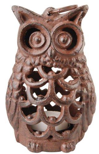 Esschert Design Laterne, Kerzenhalter Motiv Eule aus Gusseisen, ca. 9 cm x 8 cm x 14 cm