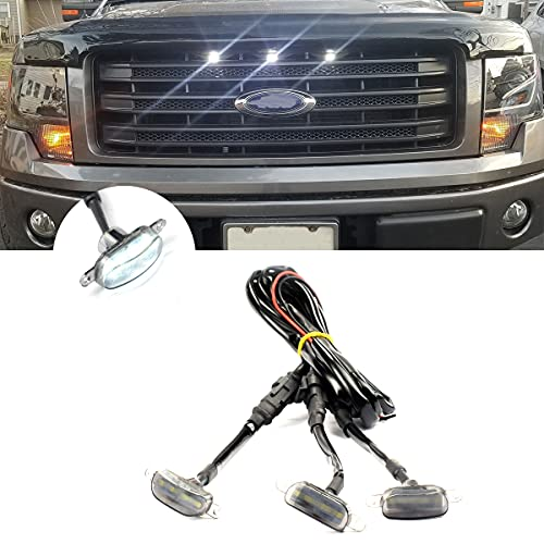 Front Grille Lights Replacement for 2004-2019 Ford F150 F250 F350 Raptor 2013-2018 Dodge Ram 1500 with 3 Pack White Light Black Lens and Wire Harness Connector