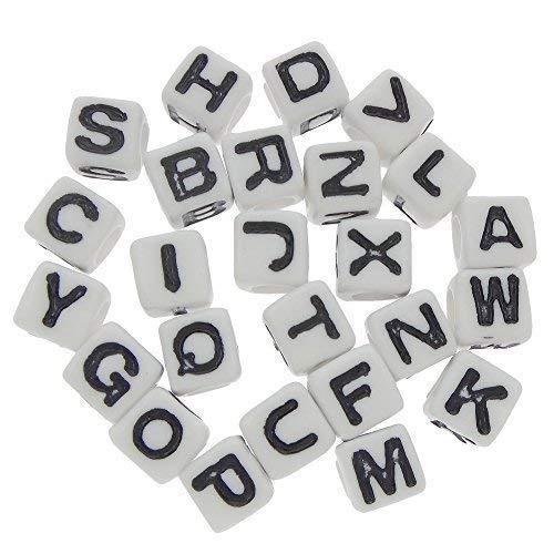 Bacabella 21845 Buchstaben Perlen 7mm Fädelloch 4mm in Würfelform weiß im Alphabet Mix (300 Stück)