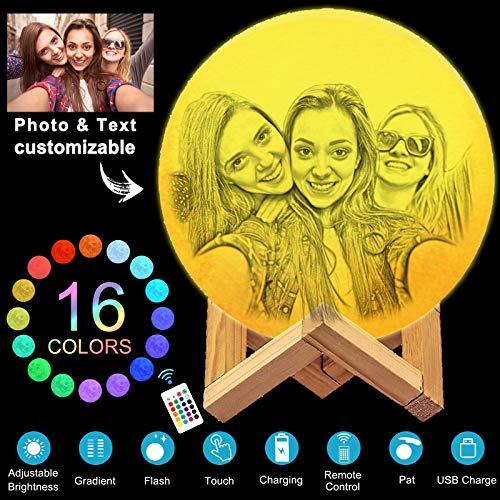 Luna Lampara Personalizada Foto,3D Lampara Luna Soporte,16 Colores Luz De Noche Soporte para niños, cumpleaños, acción de gracias, Navidad, regalos para el día de la madre
