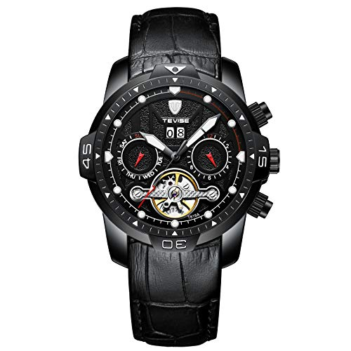 QZPM Hombres Automático Mecánico Relojes Impermeable Militar Cronógrafo Multifunción Pantalla Luminosa Casual Cuero Business Relojes,Negro