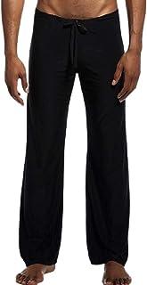 FSSE Mens Stylish Elastic Waist Ice Silk Sleepwear Lounge Pajama Pants