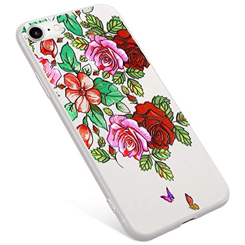 Uposao Compatible avec iPhone 8 Coque,iPhone 7 Coque Matte Etui Premium Semi Transparent Motif Rose Fleur Soft TPU Silicone Coque Anti-Choc Bumper Ultra Mince Hybrid Slim Case Coque iPhone 7/8