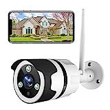 Netvue Caméra de Surveillance Extérieure, 1080P FHD WiFi IP, Fonctionne avec Alexa, IP66 Étanche à la Poussière, Caméra IP avec Vision Nocturne, Audio Bidirectionnel, Détection de Mouvement(Blanc)