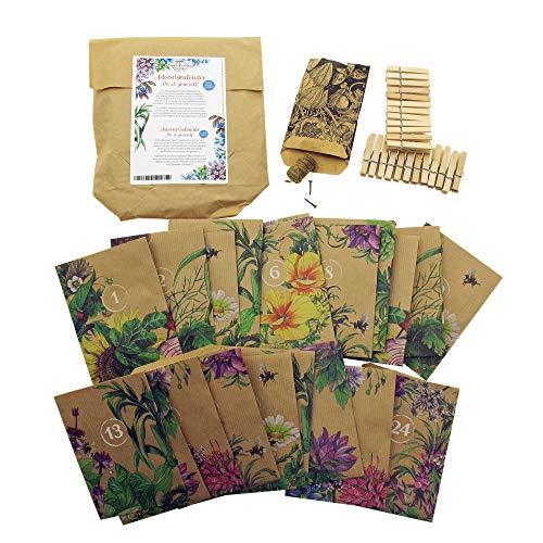 Adventskalender 'Do-it-yourself' - 24 Tütchen aus Papier mit Schnur, Klammern und Nägel zum Aufhängen und Selbstbefüllen