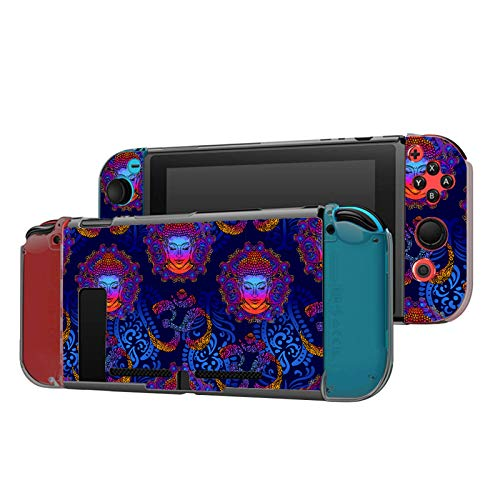 Dockable Case Compatible with Nintendo Switch Console and Joy-Con Controller, Patterned ( Neon Buddha and Om Sign ) Protective Case Cover with Tempered Glass Screen