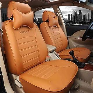 JKHOIUH Cinco fundas de asientos, fundas de alfombrillas protectoras de asientos, se ajustan a la mayoría de los vehículos, automóviles, sedán de fibra, camión, SUV, van. (Color : Naranja)
