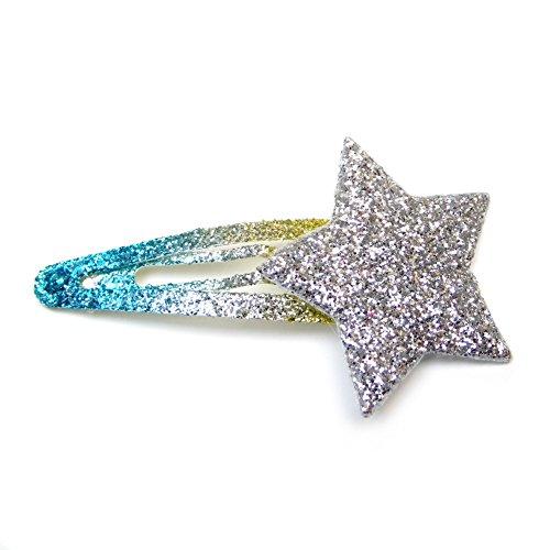 rougecaramel - Lot de 2 pinces cheveux clic clac étoile et paillettes - argenté