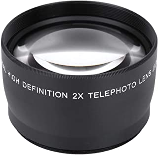 Bindpo Telephoto Lens, 58MM 2X Magnification Telephoto Lens Aluminium Alloy Teleconverter Lens for 58mm Diameter and 18-55...
