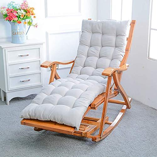 WFFF Silla Mecedora Plegable Zero Gravity, Tumbona de bambú Natural con Respaldo reclinable, Tumbona para Adultos Mayores con reposapiés