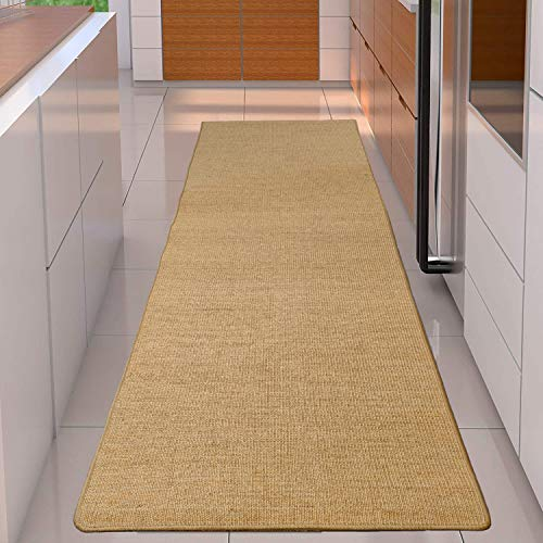 tonchean Natural Sisal Area Rug, 10 x 2.6Ft Hallway Sisal Runner Rug with Solid Border, Durable Seagrass Rug Tatami Balcony Linen Floor Mat