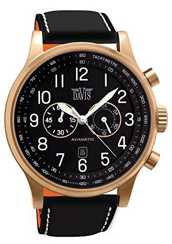 Davis –1940- Orologio Uomo Aviatore Oro Rosa 48 mm - Cronografo Stagno 50...