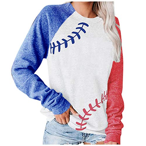 XXYsm Star Print Colorblock Sweatshirt Womens Long Sleeve Pullvoer Blouse Sweatshirt