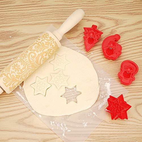Herefun Gravierte Teigroller mit Muster, Holz Weihnachten Präge Nudelholz Prägerollen Strukturierte, Engraved Rolling Pin mit Prägung Blumen Nudelhölz für Hausgemachtes Gebäck DIY Küchenhelfer(35*5cm)