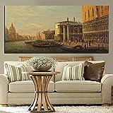 Venice classic city seascape pintura al óleo pintura de paisaje impresión en lienzo vintage wall art imagen sala de estar sofá hogar sin marco decoración A124 30x40cm