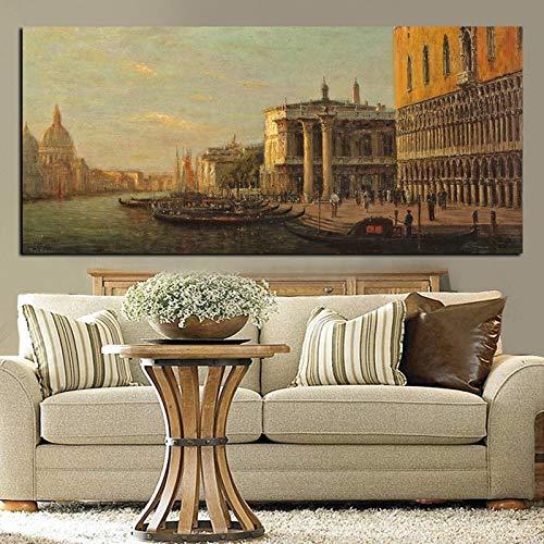 Venedig klassische Stadt Seestück Ölgemälde Landschaftsmalerei Druck auf Leinwand Vintage Wandkunst Bild Wohnzimmer Sofa nach Hause rahmenlose Dekoration A124 30x40cm