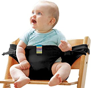 Hosim Portable Washable Baby Travel High Chair Booster Safety Seat Strap Toddler Safety Harness Belt for Baby Feeding - Black