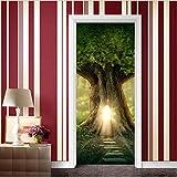 Diy Creative 3D Tree House Door Paste Reacondicionado Papel Autoadhesivo Dormitorio Habitación Pasillo Liquidación Secreta Decorativo Pvc Papel Pintado Pegatinas
