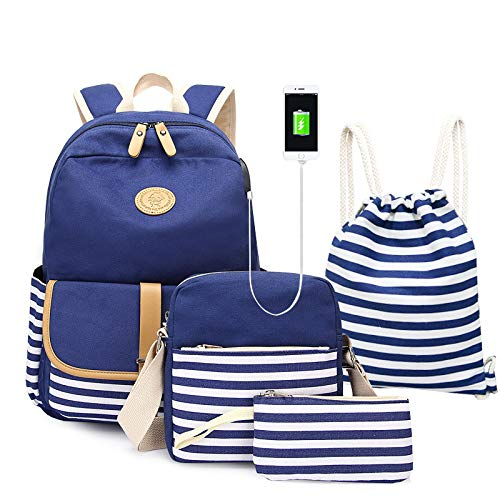 Lumcrissy 4 in 1 School Backpack Sets For Girls and Women, Canvas Lightweight Shoulder Bags (Blue)