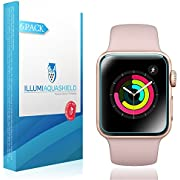 ILLUMI AquaShield Screen Protector Compatible with Apple Watch (38mm Series 3, 2, 1 Compatible)(6-Pack)(Full Coverage) No-Bubble High Definition Clear Flexible TPU Film