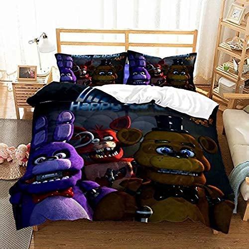 QWAS Juego de ropa de cama con diseño de osito de peluche en Freddy's con impresión digital 3D para todas las estaciones (1,140 x 210 cm + 80 x 80 cm x 2)