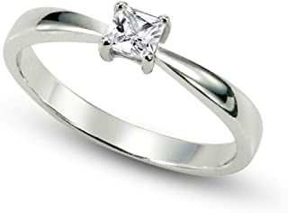 Metal Factory Sterling Silver Cubic Zirconia Solitaire 0.1 Carat tw Princess Cut CZ Engagement Ring