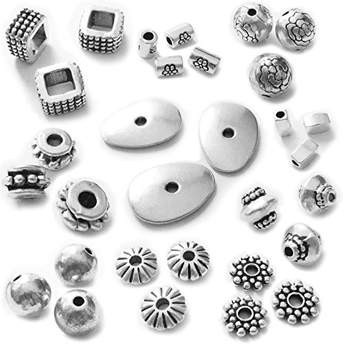 Heather's cf 227 Pieces Silver Beads for Jewelry Making Kids DIY Accessories