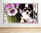 F635 Chihuahua Hund Blumen Nette Fenster Wandtattoo 3D Kunst Aufkleber Vinyl RoomMedium