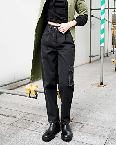 The Drop Pantalon pour Femme, Style Cargo, avec Coutures Contrastées, Noir, par @imma.gram