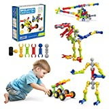 Kids Toys STEM Building Toys Bristle Blocks, 110 Pcs Sensory Toys for Boys, Stacking Toys Preschool Learning Games Kit Tinker Toys, Birthday Gifts for Age 3 4 5 6 7 8 9 10 Years Old Toddlers Girls