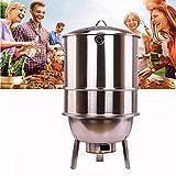 Griglie per barbecue a carbonella in piedi, griglia per barbecue in acciaio inossidabile con griglia per barbecue, grill combinato portatile-fumatori, per picnic in cortile da giardino all'aperto