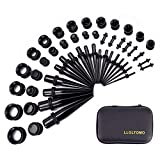 LLGLTEC Ear Stretching Kit 50 Pieces 14G-00G Ear Gauges Expander Set Acrylic Tapers and Pl...