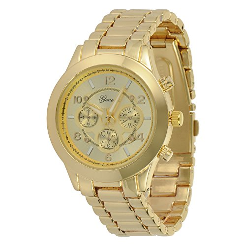 Geneva Platinum 9158 Women's Decorative Chronograph-style Link Oversized Boyfriend Metal Watch Gold