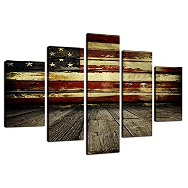 Wooden American Flag Wall Pictures for Living Room USA Canvas Print Retro US Flag Modern Painting 5 piece Framed Hooks Posters and Prints Bedroom Giclee Print Gallery Wrap Stretched(60''W x 40''H)