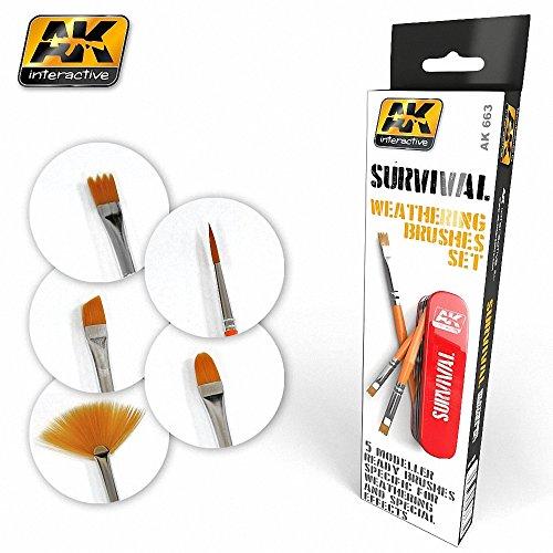 AKI663 AK Interactive - Survival Weathering Brushes Set