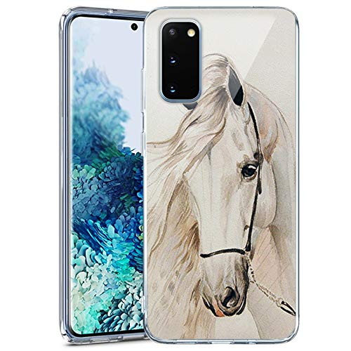Samsung Galaxy S20 FE 5G Case Clear White Horse Samsung Galaxy S20 FE 5G Phone case Customized Design Pattern Soft Slim Samsung Galaxy S20 FE 5G White Horse case Ultra-thin flexible White Horse Case f