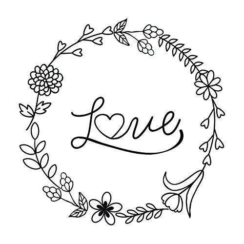 Aladine - Tampon Mariage - Support En bois - Réalisation de Faire Part de Mariage - Scrapbooking et Carterie Créative - Grand Format - Motif Couronne Love