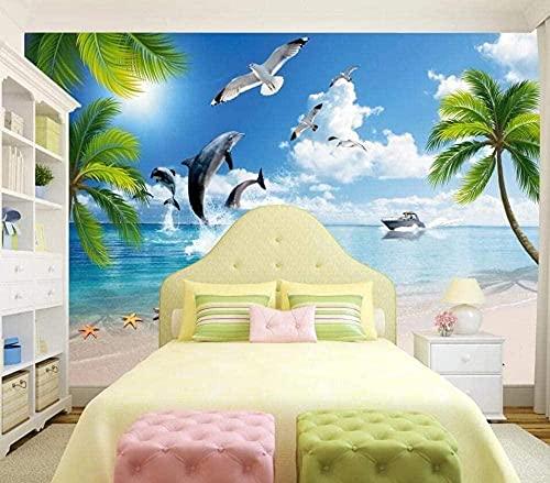 3D Wallpaper Coconut Dolphins In Sunny Beach Moderne Wand Schlafzimmer dekorative Wand Wand Wanddekoration fototapete 3d Tapete effekt Vlies wandbild Schlafzimmer-150cm×105cm