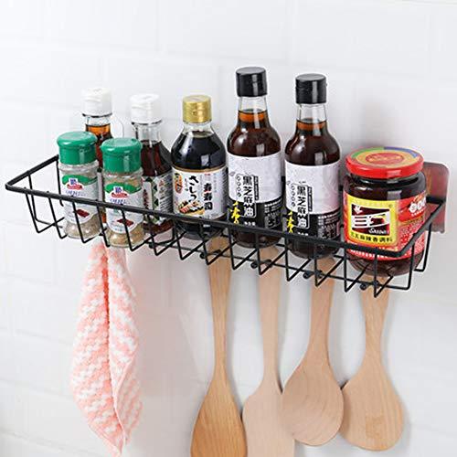 EigPluy Especiero de cocina autoadhesivo,Soportes para botes de especias Montado en Pared,Organizador de especias con 6 Ganchos Pared para Especias Utensilios de Cocina Frascos Botellas