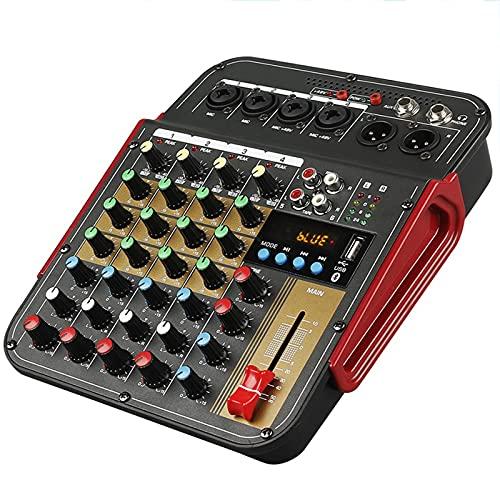 Tablero mezclador de sonido, mezclador de sonido de 4 canales Consola de efectos AUX Mezcla de DJ 48V Phantom Power Bluetooth USB REC con salida XLR Mezclador de audio para estudio de grabación