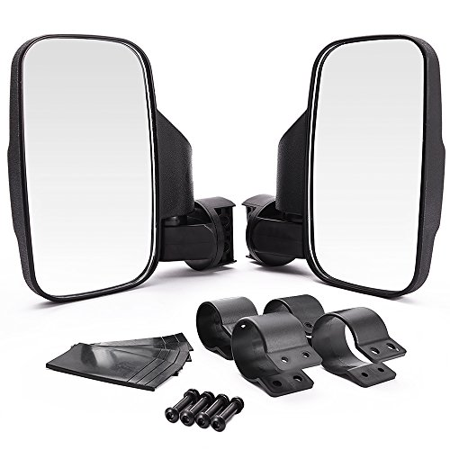MICTUNING UTV Side Mirror with 1.75 Inch or 2 Inch Mounts, Shock-proof Rubber Pad, Easily Adjustable for Polaris Ranger RZR Can-Am Maverick and more