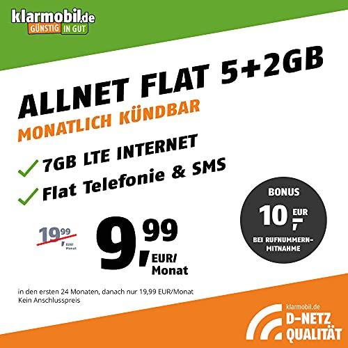 klarmobil Handyvertrag D-Netz Allnet Flat 5 GB - Internet Flat, Allnet Flat Telefonie & SMS in alle Deutschen Netze, EU-Roaming, monatlich kündbar