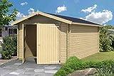 Garaje de madera H100 – 28 mm de madera, superficie: 16,80 m², tejado a dos aguas.