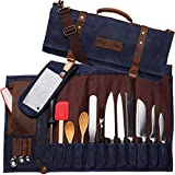 Chef Knife Bag Waxed Canvas Knife Roll Bag | 22 Pockets for Knives & Kitchen Tools | Special Slot for Cleaver | Waterproof Material | Knife Organizer | Knife Case for Chefs & Culinary Students (Blue)