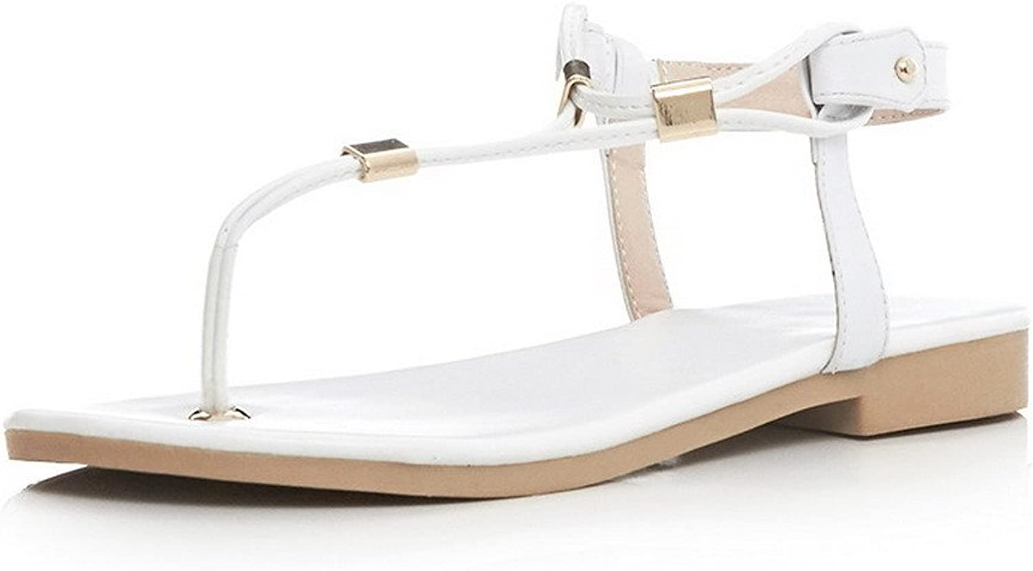 AmoonyFashion Womens Buckle Split Toe Low Heels Solid Sandals