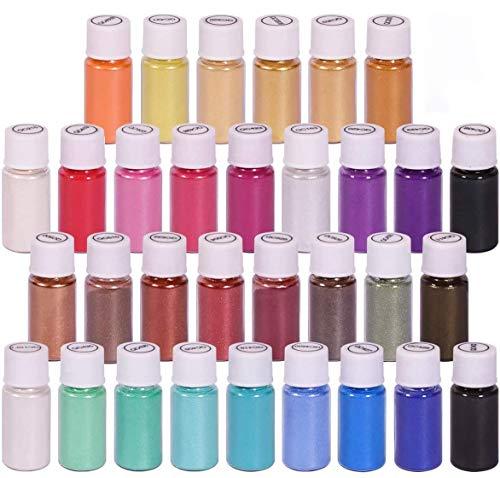 Dewel 32 Botes 5g pigmentosenpolvo de Mica para teñir resina epoxi transparente,colorante jabon, bombas de baño, hacer slime, Maquillaje,uñas.